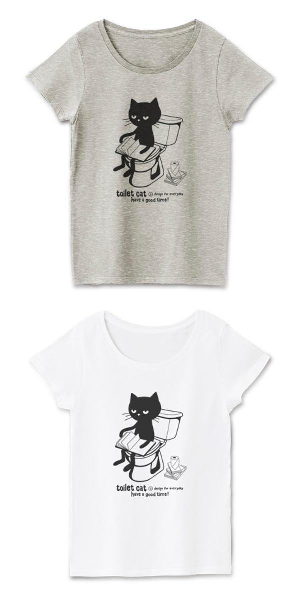 トイレット•キャット(トイレとねこ)レディースTシャツ.jpg