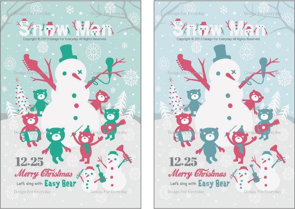 スノーマンとイージ★ベアで音楽なクリスマス グラフィック.jpg