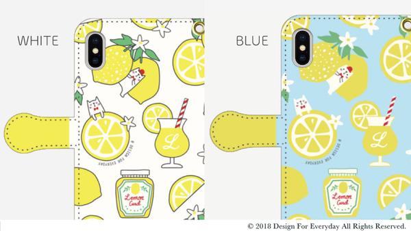 レモンと白ねこ 手帳型ケースs2-1ブルーX.png