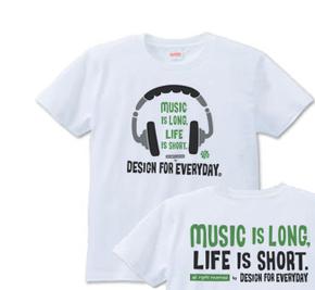 ヘッドホン〜Music is long,Life is short.〜_Tシャツ.jpg