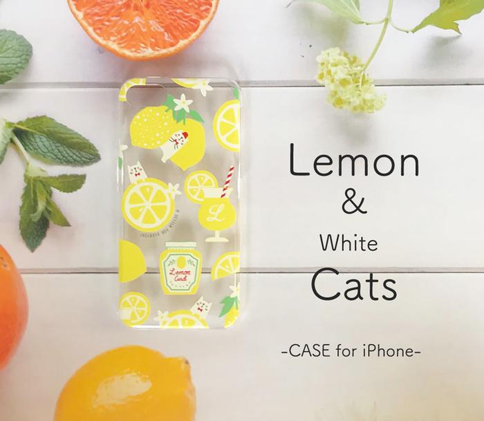レモンと白ねこ スマホケース 透明 .png
